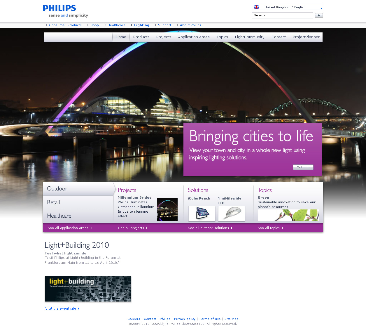 Philips Lighting Online Redesign 2010